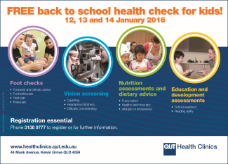 QUT Back to School Health Checks for Kids 2016